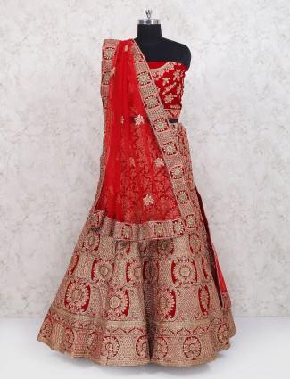 Red velvet semi stitched bridal lehenga choli
