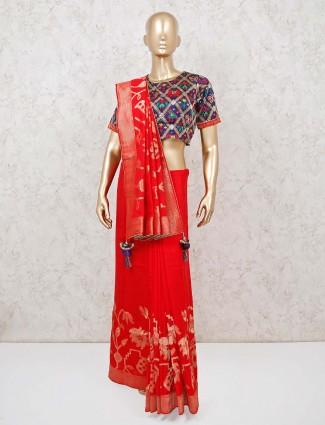 Red wedding banarasi silk ready made designer blouse saree