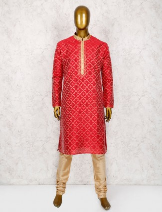 Red wedding cotton silk kurta suit