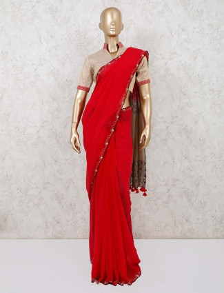 Red wedding georgette saree with readymade blouse