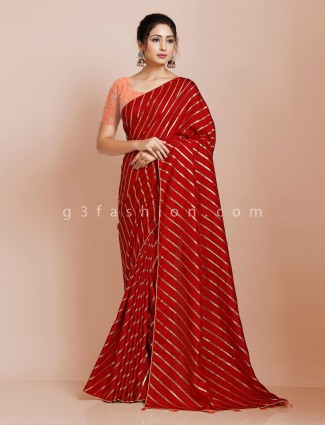 Red wedding leheriya saree in dola silk