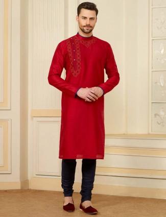 Red wedding occasion cotton silk kurta suit