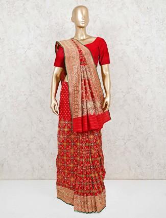 Red wedding patola silk saree