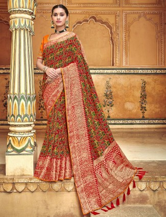 Red wedding printed patola silk saree