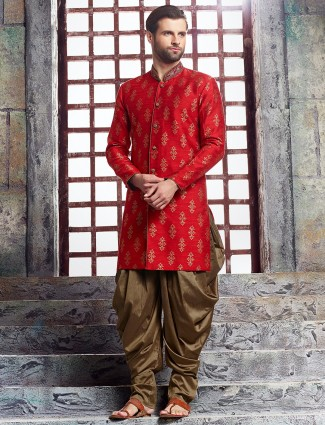 Red wedding raw silk kurta suit