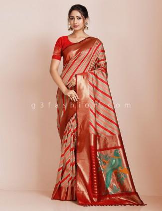 Red wedding saree design in banarasi silk