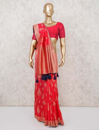 Red wedding saree design in dola silk