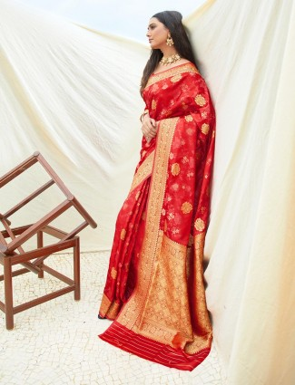 Red wedding saree in semi banarasi silk