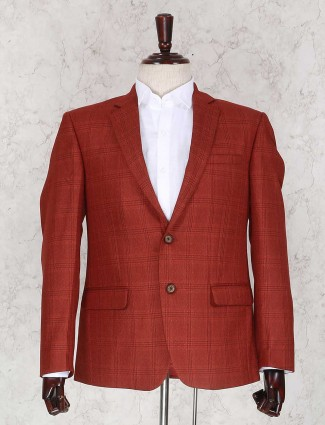 Red wedding wear checks blazer