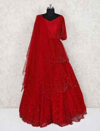 Red wedding wear designer net gown