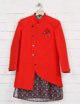 Red wedding wear double layer indo western
