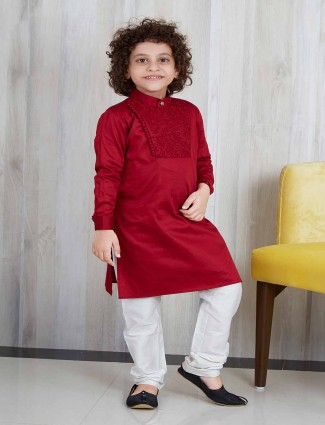 Red wedding wear kurta suit for boys