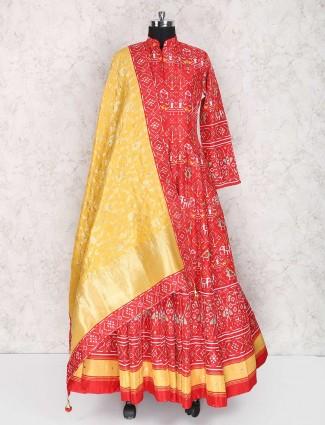 Red wedding wear patola pattern anarkali suit