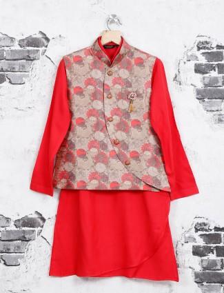 Red weding wear waistcoat set