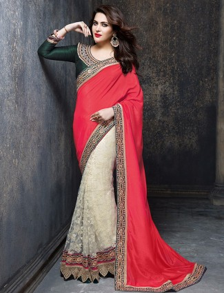 Red white marble chiffon party wear half and half sari