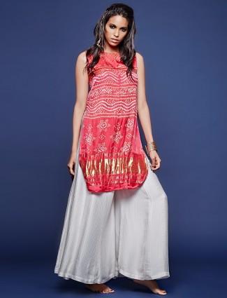 Red wonderful printed silk salwar suit