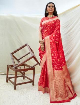 Red zari weaved wedding wear saree
