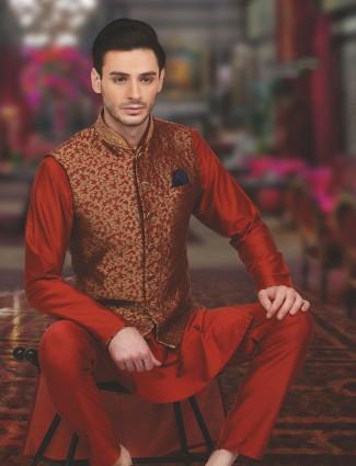 Reddish maroon wedding wear silk waistcoat set