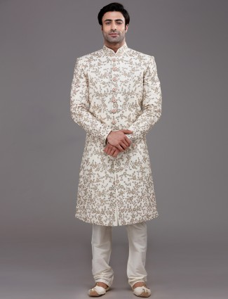 Refined classy cream raw silk sherwani set