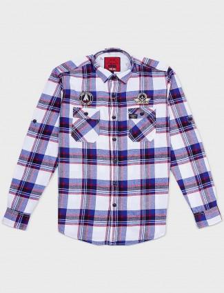Relay checks blue cotton shirt