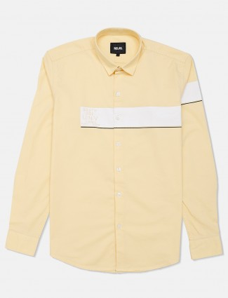 Relay cotton casual shirt in lemon yellow