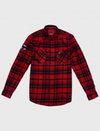 Relay red checks pattern casual shirt