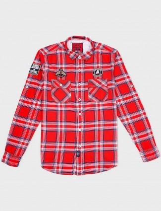 Relay red color checks shirt