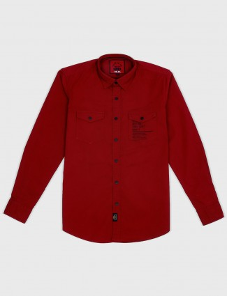 Relay red solid cotton fabric shirt