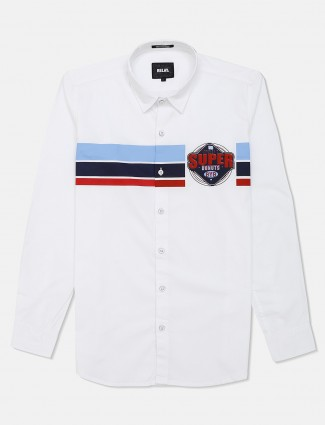 Relay white cotton shirt with stripe patern
