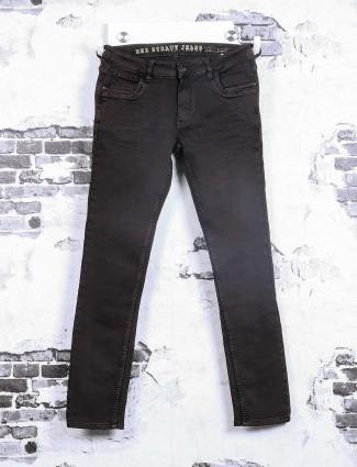 Rex Straut brown plain jeans