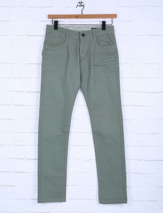 Rex Straut olive cotton fabric solid trouser