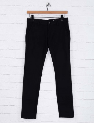 Rex Straut solid black cotton trouser