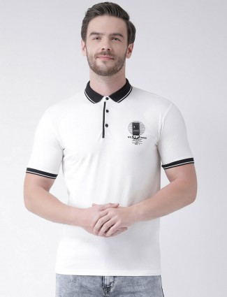 Rex Straut solid white polo t-shirt