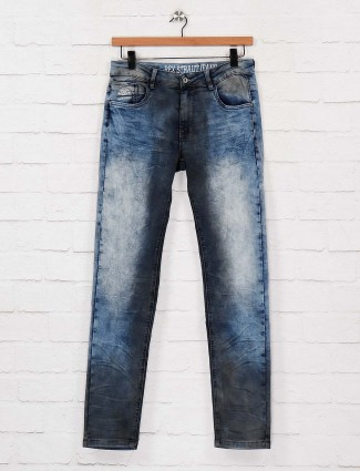 Rex Straut washed blue slim fit jeans