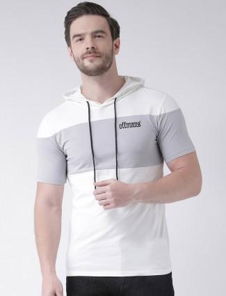 Rex Straut white and grey hoodie t-shirt