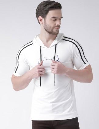 Rex Straut white stripe hoodie t-shirt