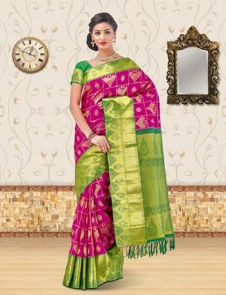 Rich magenta kanchipuram silk saree