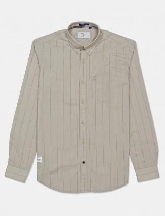 River Blue beige slim fit stripe shirt