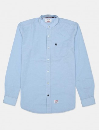 River Blue blue casual wear solid shirt