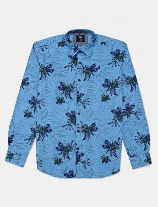 River Blue blue printed casual shirt
