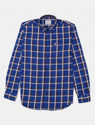 River Blue blue simple checks casual shirt