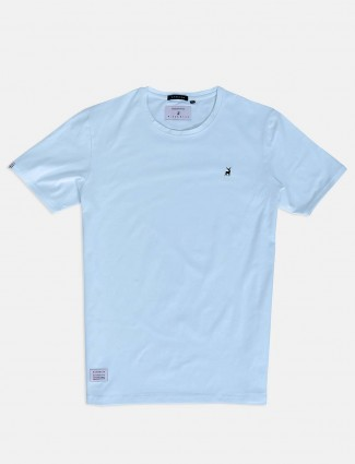 River Blue casual wear sky blue solid t-shirt