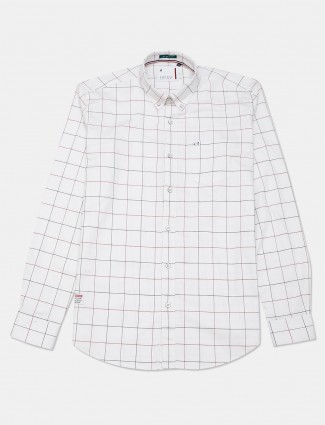 River Blue casual wear white checks shirt