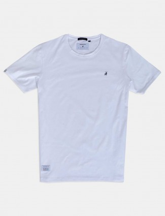 River Blue casual wear white solid t-shirt