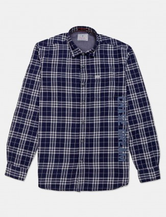 River Blue checks navy shirt for mens