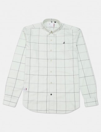 River Blue checks off white cotton shirt