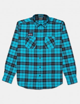 River Blue checks teal blue cotton shirt