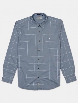 River Blue cotton grey checks shirt