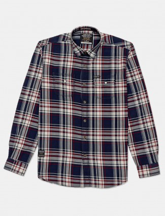 River Blue cotton navy checks casual shirt