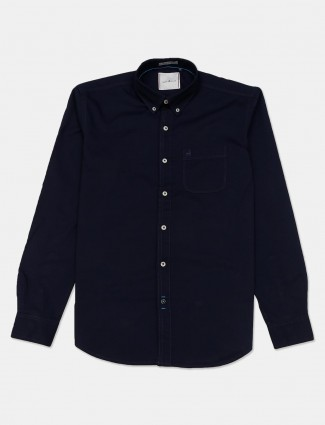 River Blue cotton navy solid casual mens shirt